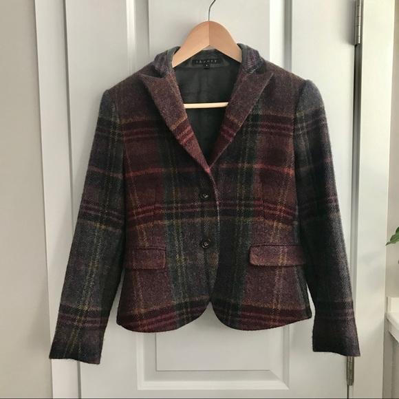 Theory Shamara lambswool blazer w leather patches
